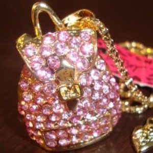 Betsey Johnson Pink Rhinestone Backpack Necklace
